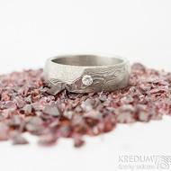 Rocksteel a čirý diamant 2,3 mm - 55, šířka 6 mm, tloušťka 2 mm, dřevo 75% SV - Damasteel snubní prsteny - et 1737 (6)