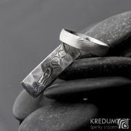 Snubní prsten damasteel - Rocksteel - dřevo tmavé a prsten Prima - světlý