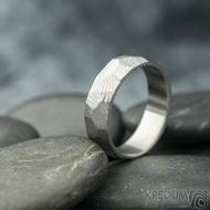Rocksteel dřevo, světlý- velikost 58, šířka 6 mm, tloušťka 1,6 mm - Damasteel snubní prsteny - sk2115 (4)