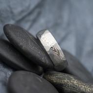 Rocksteel dřevo - Snubní prsten damasteel, SK1625