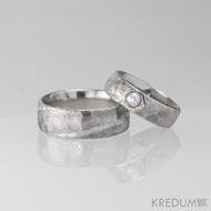 Rocksteel a perla - struktura dřevo - Snubní prsten damasteel