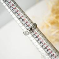 Rocksteel tmavý - velikost 57, šířka 5,3 mm, tloušťka 1,6 mm, dřevo - lept 75% zatmavený - Damasteel snubní prsteny - sk1867