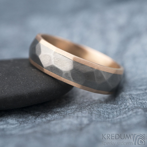 Rocky titan red - vel 63, šířka 6 mm, tloušťka 1,9 mm, červené Au, okraj ehladké 2x0,75, matný - Snubní prsteny - k 1311 (4)