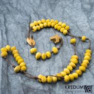 Peckový růženec - žlutý/hnědý