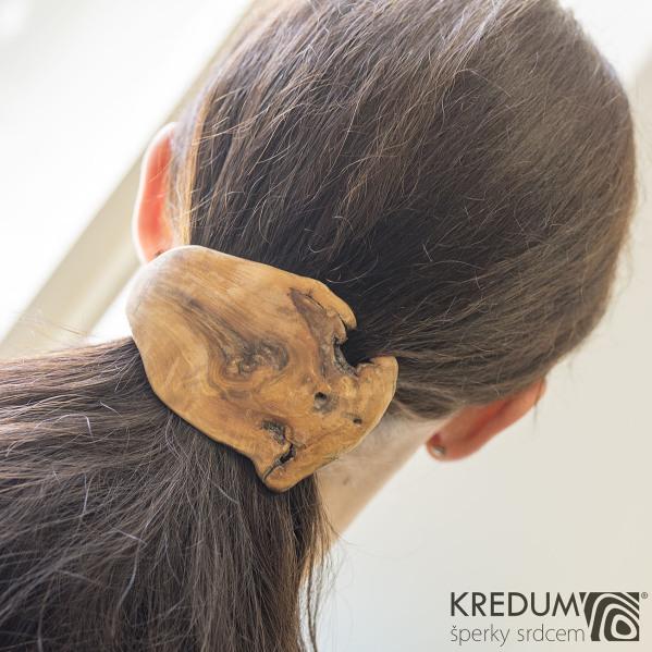 Jabloňová - Ručně vyrobená dřevěná spona, produkt č. 1009