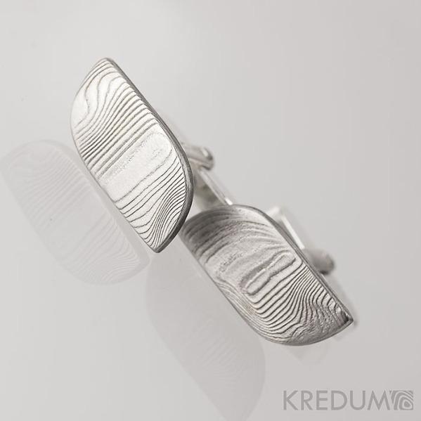 Pikant se stříbrným zapínáním - Kované manžetové knoflíčky damasteel, S1239
