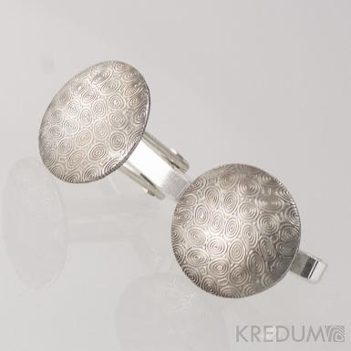 Mipapi  se stříbrným zapínáním - struktura kolečka - Kované manžetové knoflíčky damasteel, S1240