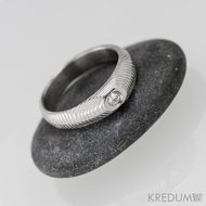 Prsten damasteel a diamant - miniAlane+++ (s diamantem 2,3 mm) - produkt číslo 1370