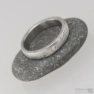 Prima a čirý diamant 2 mm, dřevo - Snubní prsten nerezová ocel damasteel, S1471