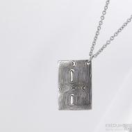 Kovové dřevo - přívěsek z oceli damasteel, S1548