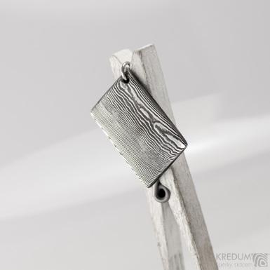 Kovové dřevo - přívěsek z oceli damasteel, S1560