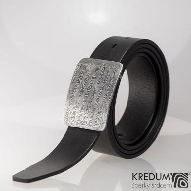 Luxusní damasteel spona - Gentleman 3,5 cm a kožený pásek, produkt č. 2078