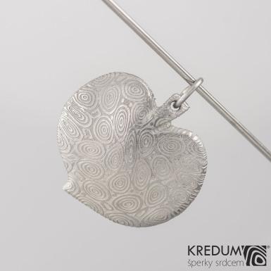 Kovaný přívěsek damasteel - Lipový list - kolečka světlá, produkt č. 2080