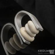 Peblering - Kovaný prsten damasteel s oblázky - velikost 63 - 65