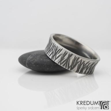 Rafael strukt - Kovaný nerezový snubní prsten, S2236