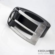 MEREDIUS a kožený pásek 3,5 cm - Luxusní damasteel spona - struktura dřevo - produkt č. 937