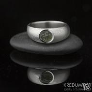 Kovaný prsten damasteel - Greeneli, struktura dřevo
