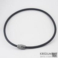 Samuel náhrdelník černý - Damasteel korálek, SK1207