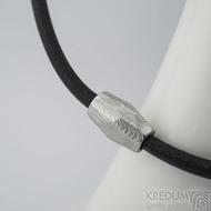 Samuel náhrdelník černý - damasteel korálek dřevo, lept 75% světlý - produkt SK2160