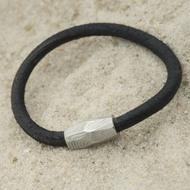 Samuel - kožený náramek černý + Damasteel korálek, struktura dřevo, světlý - produkt SK3088 - běžná délka 20 cm