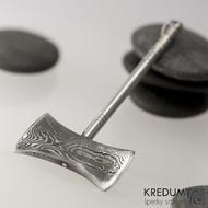 Ručně kovaný přívěsek z oceli damasteel - Sekera Rubec