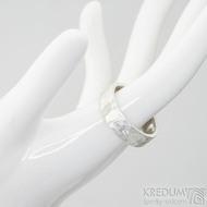 Silver draill a čirý diamant 2 mm - US V (63,7), šířka 6,5 mm, povrch matný - Stříbrný snubní prsten - et 1849 (2)