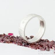 Silver draill a čirý diamant 2 mm - US V (63,7), šířka 6,5 mm, povrch matný - Stříbrný snubní prsten - et 1849 (4)