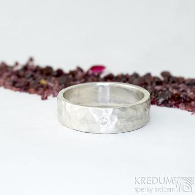 Silver Draill a čirý diamant 2 mm - Stříbrný snubní prsten