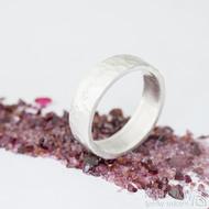 Silver draill a čirý diamant 2 mm - US V (63,7), šířka 6,5 mm, povrch matný - Stříbrný snubní prsten - et 1849 (3)