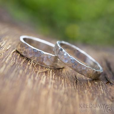 Silver draill lesklý - oba velikost 61, šířka 4 mm a 5 mm, tloušťka střední - Stříbrné snubníprsteny - k 1797 (3)
