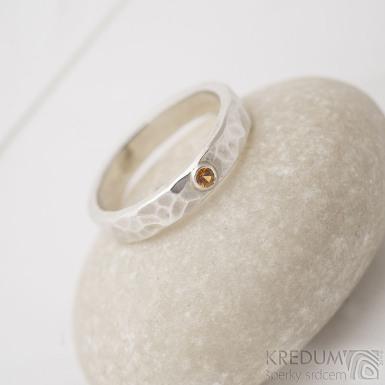Silver draill a broušený mandarin 2 mm - Stříbrný snubní prsten - SK2703