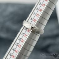 Siona a broušený granát 1,7 mm do Ag - vel 49,5, šířka 4 mm, hlava 2,1 mm do dlaně 1,4 mm, dřevo - lept 75%SV, profil B - sk2059 (4)