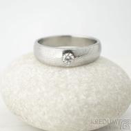 Siona a diamant 3 mm - vel 54,5, šířka hlavy 5 mm do dlaně 4 mm, dřevo - lept 25% sv, B - Damasteel zásnubní prsten - k 1462 (3)