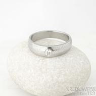 Siona a diamant 3 mm - vel 54,5, šířka hlavy 5 mm do dlaně 4 mm, dřevo - lept 25% sv, B - Damasteel zásnubní prsten - k 1462 (4)