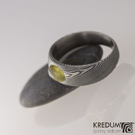 Siona a jantar, dřevo - Kovaný snubní prsten z nerezové oceli damasteel (2)