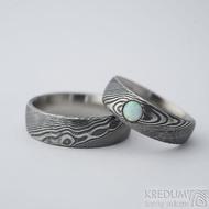 Siona a kabošon opál - 52, šířka hlavy 6 mm, do dlaně 4 mm a Prima 6 mm, dřevo 100% TM, E - Damasteel snubní prsteny - k 2272 (2)