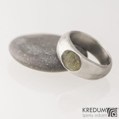 Siona a kámen natural, dřevo - Kovaný snubní prsten z nerezové oceli damasteel