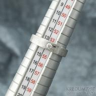 Siona Glanc a diamant 2,7 mm - vel 54; š. hlavy 4 dlaň 3,1 mm, tl. hlavy 2,4 mm dlaň 1,4 mm - Damasteel zásnubní prsten - sk2036 (6)