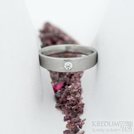 Siona Glanc a diamant 2,7 mm - vel 54; š. hlavy 4 dlaň 3,1 mm, tl. hlavy 2,4 mm dlaň 1,4 mm - Damasteel zásnubní prsten - sk2036 (2)