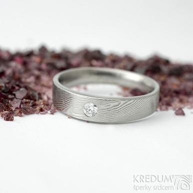 Siona Glanc a diamant 2,7 mm - vel 54; š. hlavy 4 dlaň 3,1 mm, tl. hlavy 2,4 mm dlaň 1,4 mm - Damasteel zásnubní prsten - sk2036 (5)