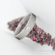 Siona Glanc a diamant 2,7 mm - vel 54; š. hlavy 4 dlaň 3,1 mm, tl. hlavy 2,4 mm dlaň 1,4 mm - Damasteel zásnubní prsten - sk2036 (3)