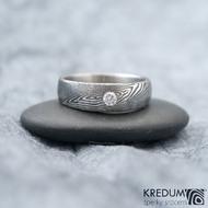 Siona line a diamant 2,7 mm - lept 75%, zatmavený, šířka hlavy 5 mm a do dlaně 4 mm, Velikost prstenu 54 - k 1175 (2)