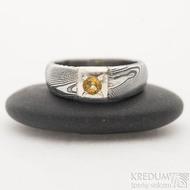 Siona Space a citrín 3 mm - 50, šířka hlavy 6 mm, do dlaně 3,9 mm, dřevo 75% TM, profil B - Zásnubní prsten damasteel, SK2602 (3)