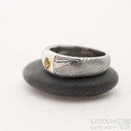 Siona Space a citrín 3 mm - 50, šířka hlavy 6 mm, do dlaně 3,9 mm, dřevo 75% TM, profil B - Zásnubní prsten damasteel, SK2602 (2)