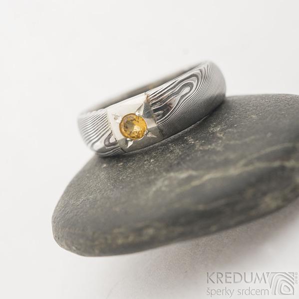 Siona Space a citrín 3 mm - 50, šířka hlavy 6 mm, do dlaně 3,9 mm, dřevo 75% TM, profil B - Zásnubní prsten damasteel, SK2602 (4)