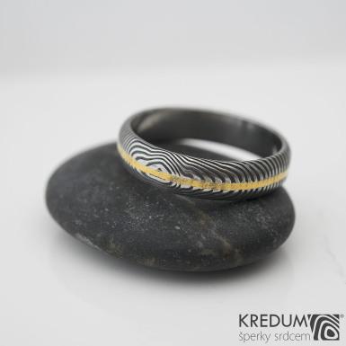 Golden line - prsten damasteel a zlato - produkt č. 1023