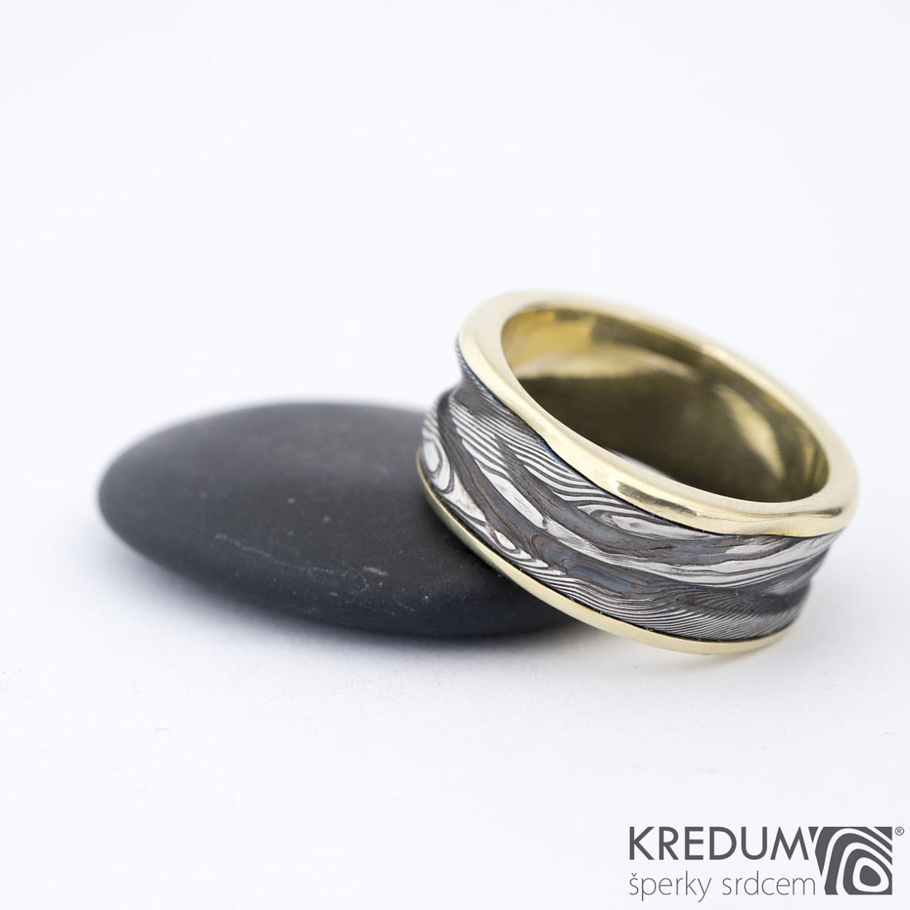 Zlaty Pan Vod Snubni Prsten Damasteel V Kombinaci Se Zlatem