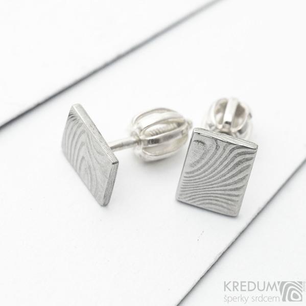 Kované obdélníkové šroubovací náušnice z nerez oceli damasteel - Quatro mini, SK3271