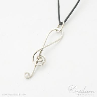 Houslový klíč - stříbrný přívěsek - SK4375