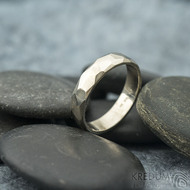 Skalák gold white - lesklý - velikost 55, šířka 4,5 mm, tloušťka 1,3 mm - Zlatý snubní prste